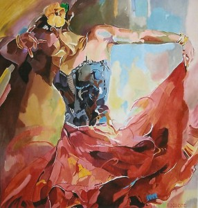 Flamenco I, afmeting 70 x 70 cm (LxH)