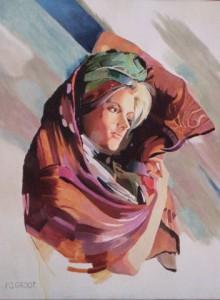 Vrouw met stola, afmeting 50 x 110 cm (LxH)