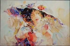 Pe Groot, Schilderij Biarritz, afmeting 60 x 40mm