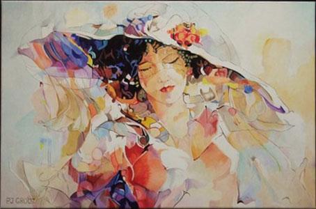 Biarritz, schilderij Pe Groot, afmeting 60 x 40mm (b x h)