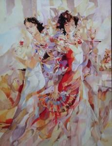 Marbella, Schilderij Pe Groot, afmeting 80 x 60 cm (Lxh)