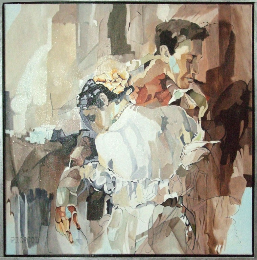 Don't leave me, schilderij Pe Groot, afmeting 60 x 60 cm (b x h)