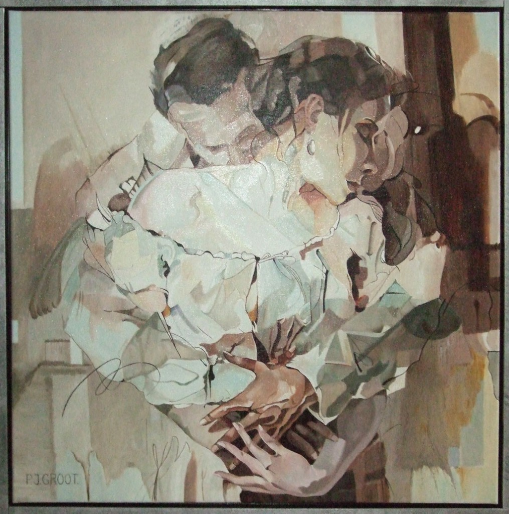 Hold me close, schilderij Pe Groot, afmeting 60 x 60 cm (b x h)