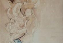 Omhelzing 2, schilderij Pe Groot, afmeting 60 x 60 cm (b x h)