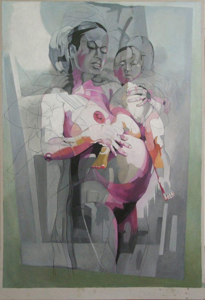 Moeder 1, schilderij Pe Groot, afmeting 80 x 110 cm (b x h)
