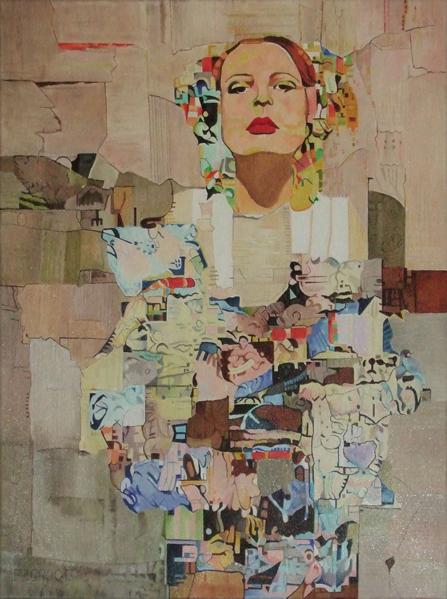 Ode aan Klimt, schilderij Pe Groot, afmeting 60 x 80 cm (b x h)