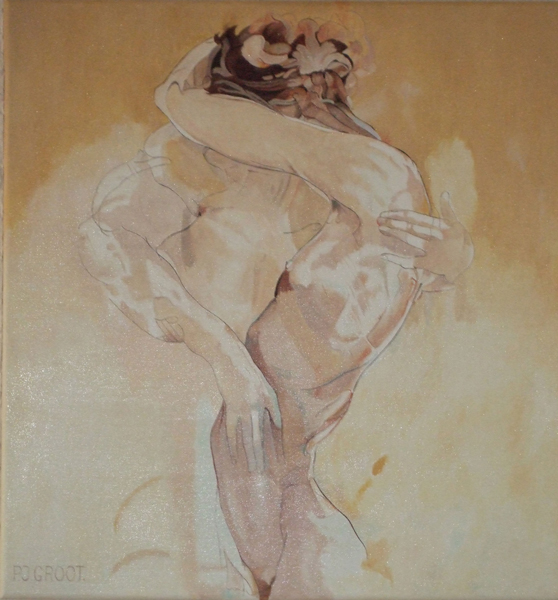 Omhelzing 1, schilderij Pe Groot, afmeting 60 x 60 cm (b x h)