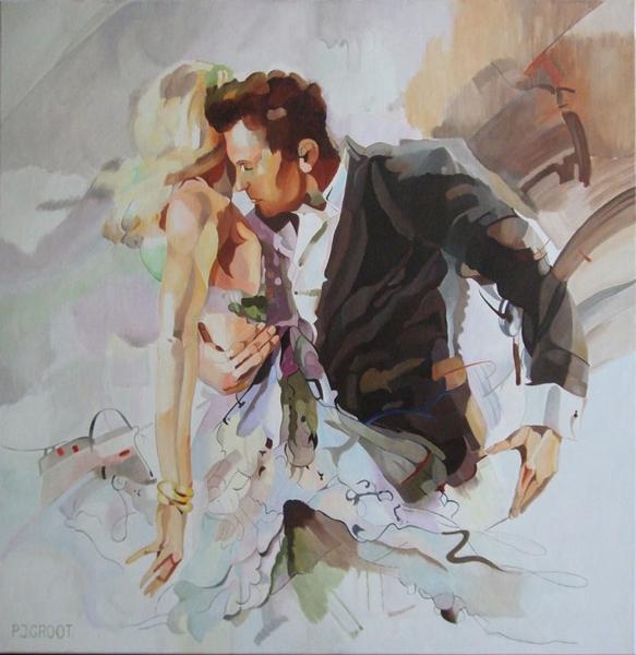 Passie, schilderij door Pe Groot, afmeting 80x 80 cm (b x h)