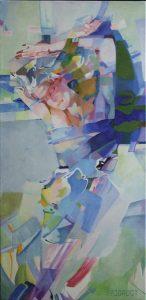 Sleeping Beauty, schilderij Pe Groot, afmeting 40 x 80 cm (b x h)