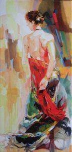 Carmen, schilderij Pe groot, afmeting 40 x 80 cm (b x h)