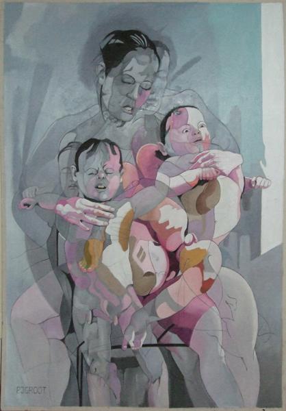 Moeder 2, schilderij Pe Groot, afmeting 80 x 110 cm (b x h)