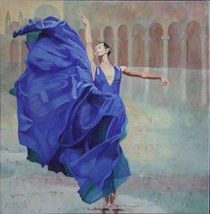 Dansen op het plein, schilderij Pe groot, afmeting 70 x 70 cm (b x h)