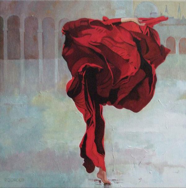 Dansen in de wind, schilderij Pe groot, afmeting 60 x 60 cm (b x h)