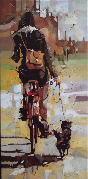 The girl with her dog, schilderij Pe groot, afmeting 40 x 80 cm (b x h)