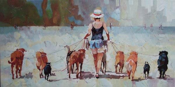Walking with the dogs, schilderij Pe groot, afmeting 100 x 50 cm (b x h)