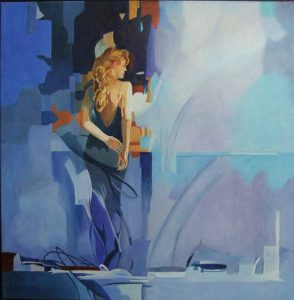 Lady in Blue, schilderij Pe groot, afmeting 80 x 80 cm (b x h)