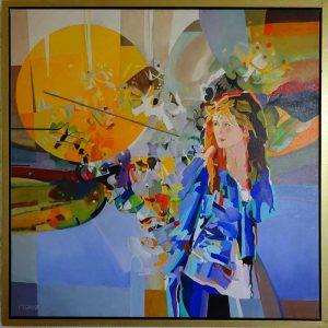 Le Soleil, schilderij Pe groot, afmeting 80 x 80 cm (b x h)