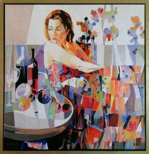 Boogiewoogie, schilderij Pe groot, afmeting 70 x 70 cm (b x h)