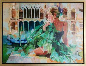 Venice, schilderij Pe groot, afmeting 60 x 80 cm (b x h)