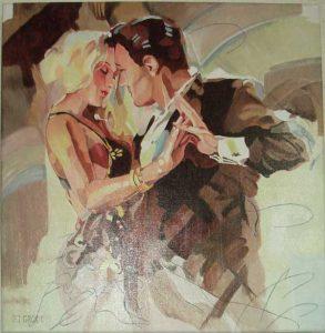 Dance with me, schilderij Pe groot, afmeting 60 x 60 cm (b x h)