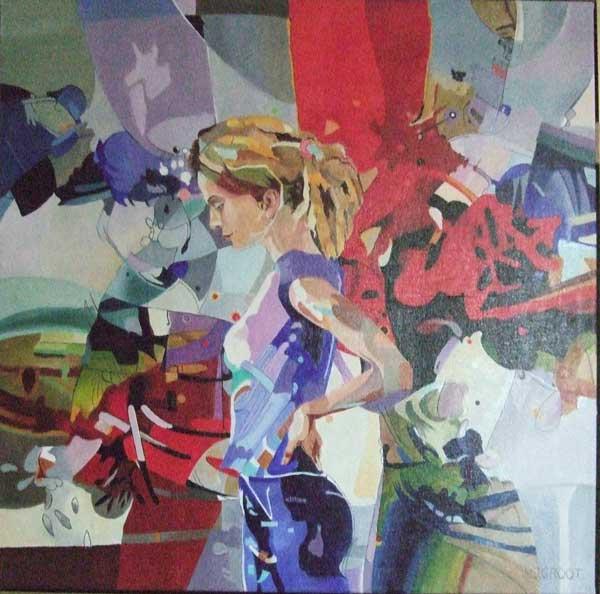 Maybe, schilderij Pe groot, afmeting 70 x 70 cm (b x h)