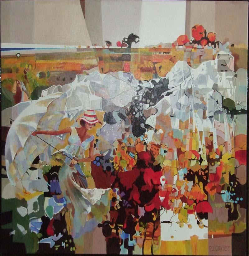 Vier Jaargetijden, schilderij Pe groot, afmeting 80 x 80 cm (b x h)