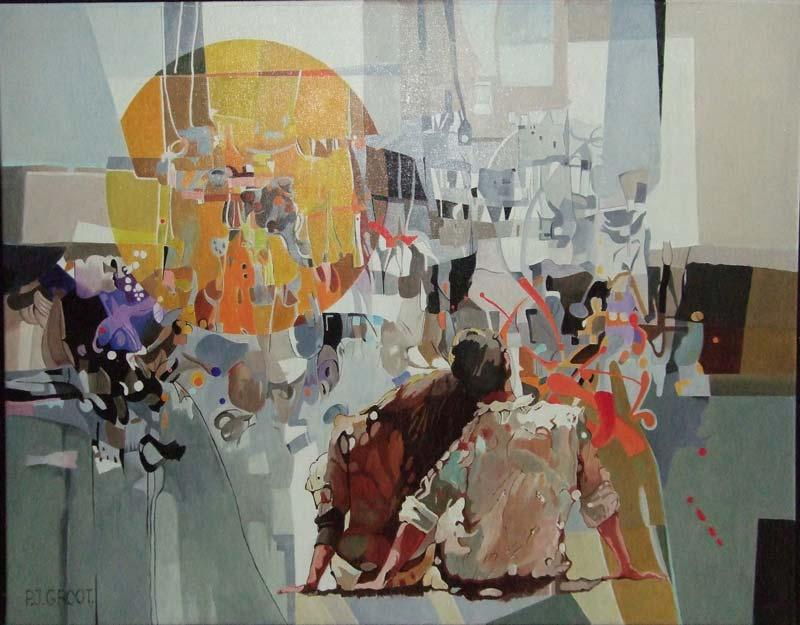 Zonsondergang, schilderij Pe groot, afmeting 60 x 80 cm (b x h)