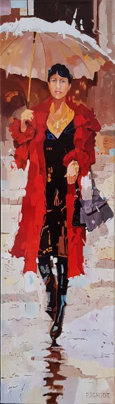 Shopping, schilderij Pe groot, afmeting 30 x 100 cm (b x h)