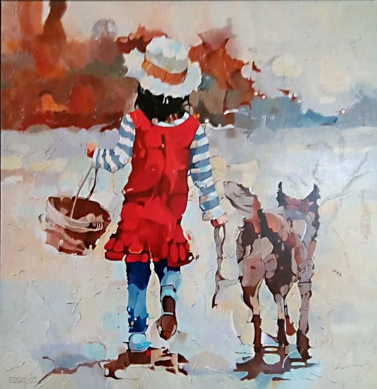 The girl and her dog, schilderij Pe groot, afmeting 80 x 80 cm (b x h)