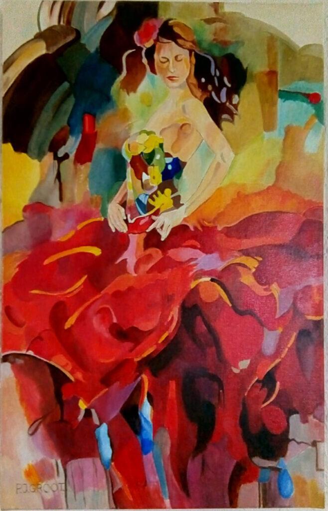 """Schilderij """"Flamenco 2020"""" door Pé Groot in 2020. Afmeting 40 x 60 cm (LxH)"""
