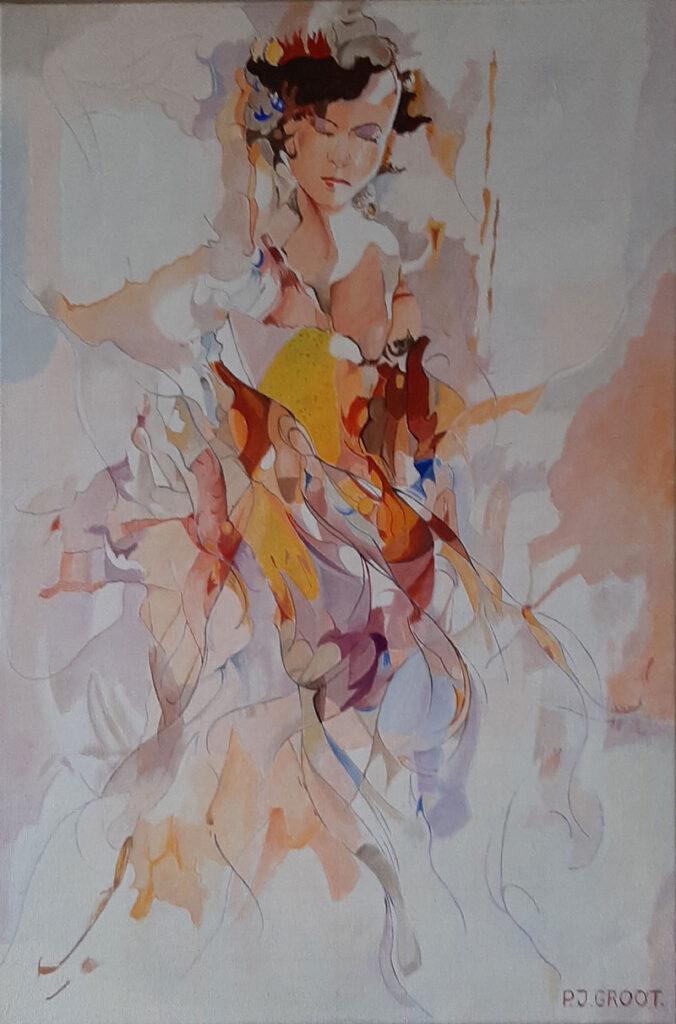 """Schilderij """"Flora"""" door Pé Groot in 2020. Afmeting 40 x 60 cm (LxH)"""
