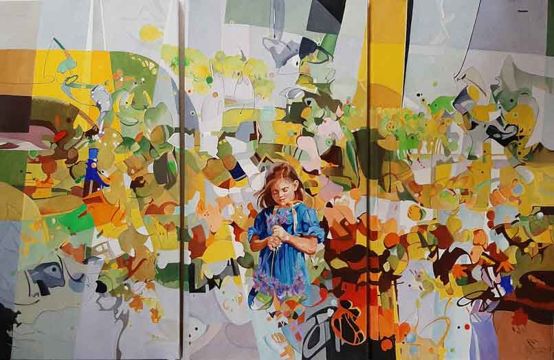 Gouden Herfst (drieluik), 120 x 80 cm, Pe Groot 2021